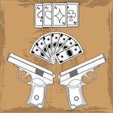Carte da gioco dell'illustrazione, soldi e due pistole Immagini Stock
