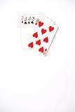 Carte da gioco dell'insieme di simboli dei posti della mano di poker in casinò: tre di una presa di genere su fondo bianco, estra Immagine Stock