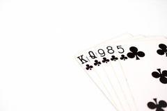 Carte da gioco dell'insieme di simboli dei posti della mano di poker in casinò: vampata su fondo bianco, estratto di fortuna Fotografia Stock