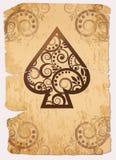 Carte da gioco della mazza dell'asso di Spade´s dell'annata Immagini Stock