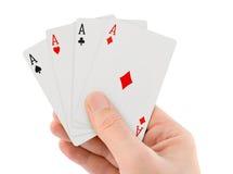 Carte da gioco a disposizione Immagini Stock Libere da Diritti