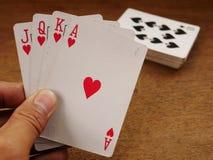 Carte da gioco e giocare, carta 05 del poker fotografia stock
