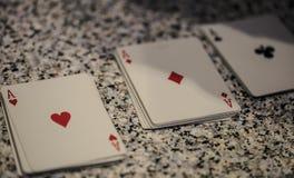 Carte da gioco per gli assi Fotografie Stock
