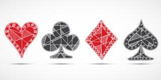 Carte da gioco, poker, simbolo del black jack, fondo, vanghe dei diamanti dei cuori di scarabocchio e simboli schizzati disegnati Illustrazione di Stock