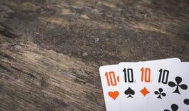 Carte da gioco quattro dieci con copyspace Fotografia Stock Libera da Diritti
