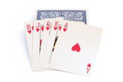 Carte da gioco sopra la pila di carte Immagini Stock Libere da Diritti