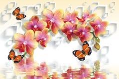 carte da parati 3D con le orchidee della pesca e le farfalle d'ondeggiamento royalty illustrazione gratis