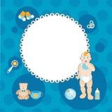 Carte de bébé garçon d'amusement Photos stock
