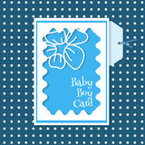 Carte de bébé garçon sur un fond bleu avec des points Photo libre de droits