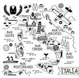 Carte de bande dessinée de l'Italie Photo libre de droits