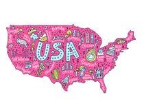 Carte de bande dessinée des Etats-Unis illustration stock