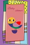 Carte de bébé avec le hibou mignon dans le cadre original avec l'inscription-b Image stock