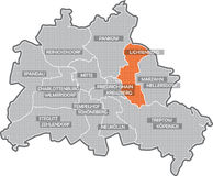 Carte de Berlin (secteur Lichtenberg) Images stock
