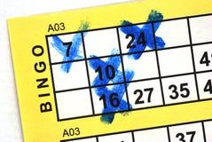 Carte de bingo-test dans la fin vers le haut Photographie stock