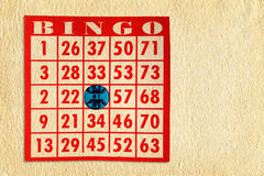 Carte de bingo-test sur le parchemin Photos stock