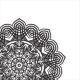 Carte de blanc de noir de modèle de pointillé de dotwork de mandala Photos stock
