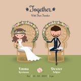 Carte de Bohème rustique d'invitation de mariage de couples de bande dessinée illustration libre de droits