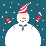 Carte de bonhomme de neige de Noël Photographie stock