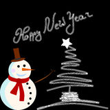Carte de bonhomme de neige de vecteur pour Noël Photo stock
