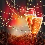 Carte de bonne année avec des verres de champagne Photos stock