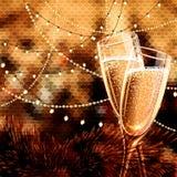 Carte de bonne année avec des verres de vin image stock