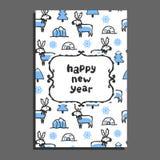 Carte de bonne année avec le renne mignon de bande dessinée Image libre de droits