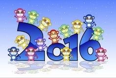 Carte de bonne année avec le singe illustration libre de droits
