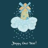 Carte de bonne année des flocons de neige Photo stock