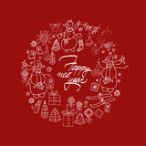 Carte de bonne année et de Noël avec l'aspiration de main Photographie stock