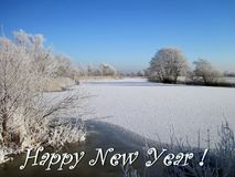 Carte de bonne année faite utilisant les arbres neigeux, Lithuanie illustration libre de droits