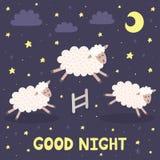 Carte de bonne nuit avec des moutons sautant par-dessus une barrière Photographie stock