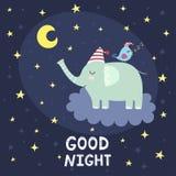 Carte de bonne nuit avec le vol mignon d'éléphant sur le nuage Photos libres de droits