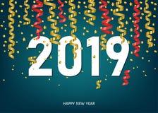 Carte de 2019 bonnes années avec les confettis d'or et rouges illustration stock