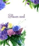 Carte de bouquet de fleur d'aquarelle Image stock