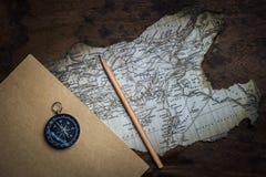 Carte de boussole et de vintage Photo libre de droits