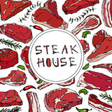 Carte de boutique de bifteck avec des produits carnés et des herbes Menu ou boucher Market Template de restaurant Bifteck de boeu Photo stock
