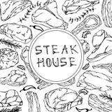Carte de boutique de bifteck avec des produits carnés et des herbes Menu ou boucher Market Template de restaurant Bifteck de boeu Image libre de droits
