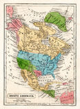 Carte 1845 de Boynton de l'Amérique du Nord avec la République du Texas Photos libres de droits
