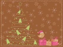 Carte de Brown avec un arbre de Noël, un oiseau et des cadeaux Photographie stock