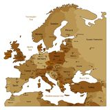 Carte de Brown de l'Europe Image stock