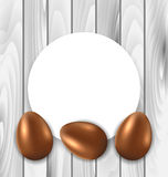 Carte de célébration avec des oeufs de chocolat de Pâques Image stock