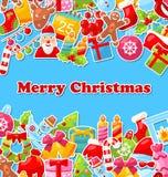 Carte de célébration de Joyeux Noël avec traditionnel Image libre de droits