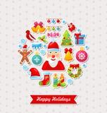 Carte de célébration de Joyeux Noël avec traditionnel Photographie stock libre de droits