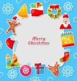 Carte de célébration de Joyeux Noël avec traditionnel Photo stock