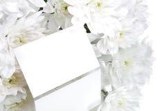 Carte de cadeau et fleurs blanches Photo stock