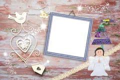 Carte de cadre de photo de Noël pour le bébé garçon Photos stock