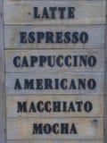 Carte de café Photos stock