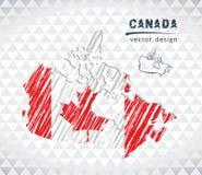 Carte de Canada avec la carte tirée par la main de stylo de croquis à l'intérieur Illustration de vecteur illustration de vecteur