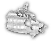 Carte de Canada sur la vieille toile Photo stock