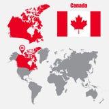 Carte de Canada sur une carte du monde avec l'indicateur de drapeau et de carte Illustration de vecteur illustration stock